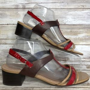 Tahari Floria 10M Taupe/Red Leather T-Strap Sandal